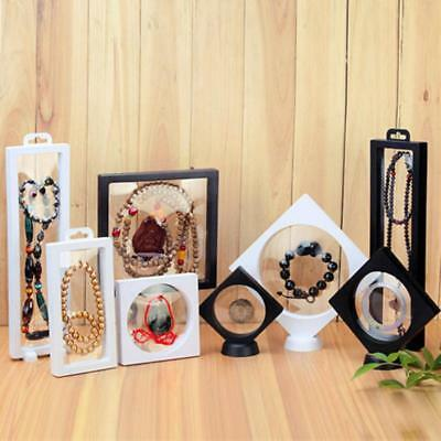 Transparen Floating Frame Holder Shadow Box Medal Ring Coin Jewelry Display Cas
