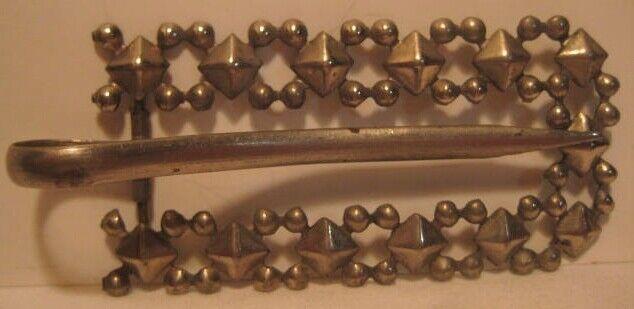 Attractive Old 1890s Cut Steel Metal Womans Belt Buckle