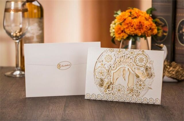 Printing Personalized Gold butterfly Wedding Invitation Cards /& Envelopes /& Seal