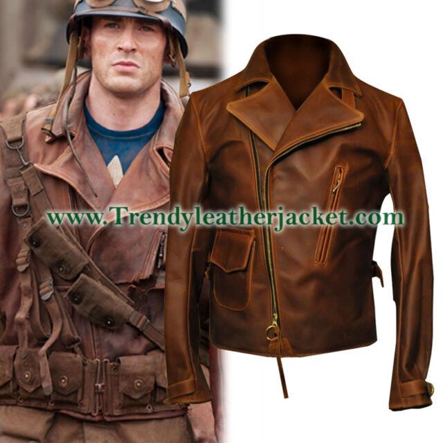 Parevaas Mens Captain America Steve Rogers Genuine Lambskin Biker Distressed Brown Leather Jacket