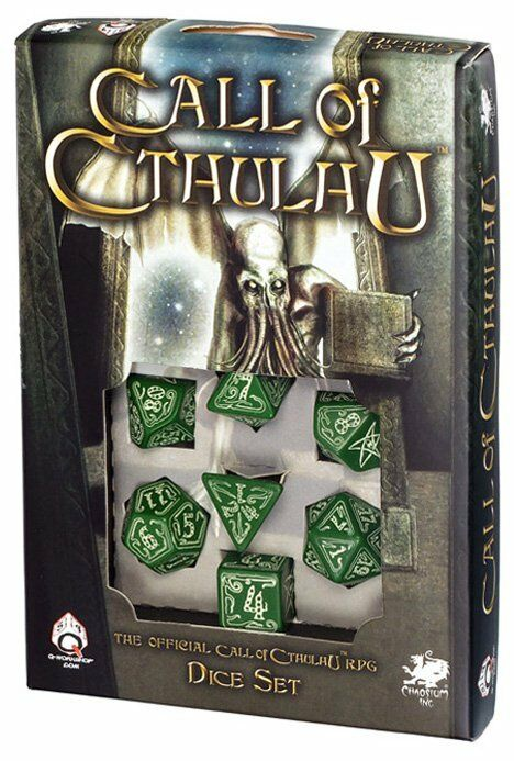 Q-workshop 7 Dice Set of Green & Glow-in-the-dark Call of Cthulhu SCTH22