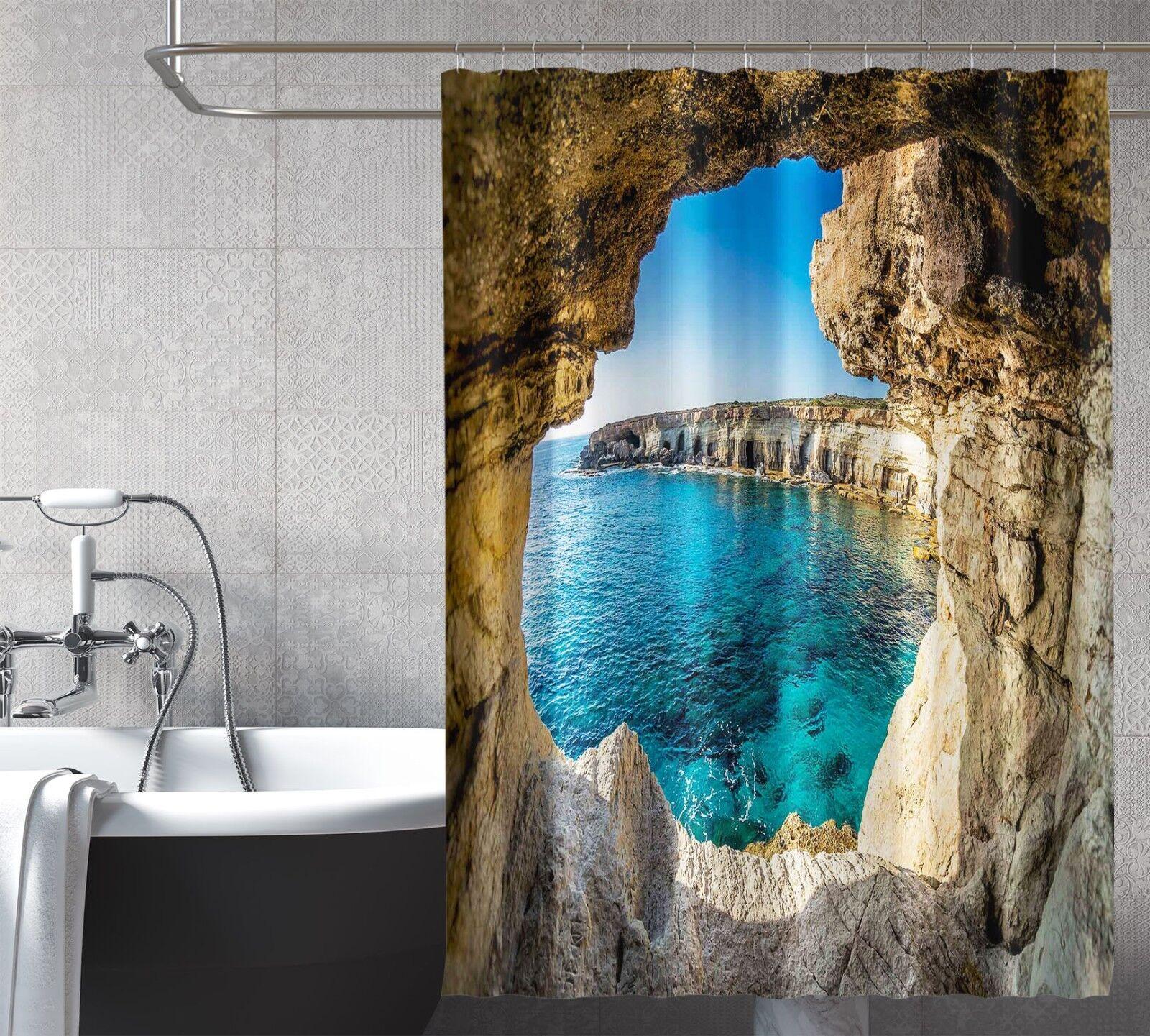 3D rocher mer 236 Rideau de Douche Imperméable Fibre Salle de Bain Home Windows Toilette