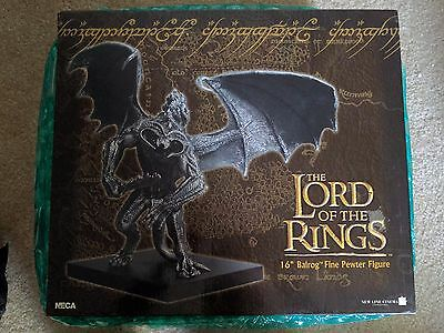 "NECA 16"" BALROG FINE PEWTER Figure Statue Lord of the Rings LotR Gandalf Hobbit"