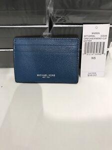9e73adb9c0b31c MICHAEL KORS LEATHER CARD CASE W/ MONEY CLIP (Ocean Blue) | eBay