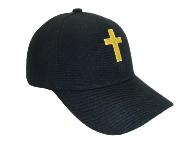 Christian Cross Religious Theme Baseball Cap Caps Hat Hats God Jesus Black  Gold 3bb91ea68a2