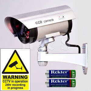High-Quality-Fake-Dummy-CCTV-Security-Camera-Flashing-LED-Indoor-Outdoor-Silver
