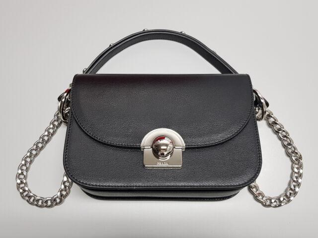 489e608a97 NEW PRADA Glace Calf Nero Black Leather Handbag 1BD030 Bag RRP  4050