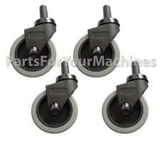 """Set of 4 #S5851 RUBBERMAID #7580-L2 /""""RED/"""" Wave Brake Quiet Casters Wheels"""