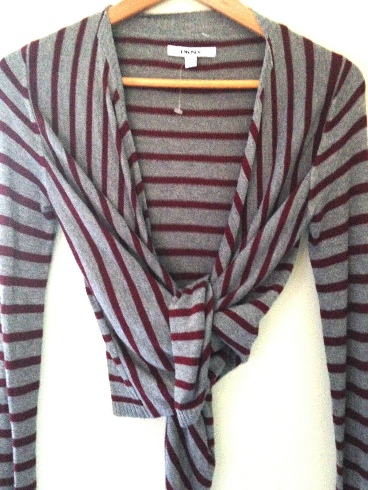 NWT DKNY Elegant Black Cherry Red Gray Knit Wrap Convertible Sweater Top L $175