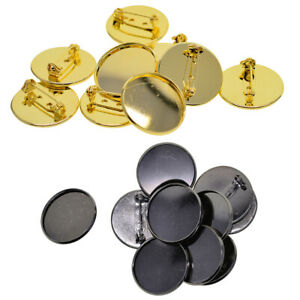 20Pcs-Brooch-Pin-Back-Base-25mm-Round-Cabochon-Setting-Tray-with-Safety-Pins