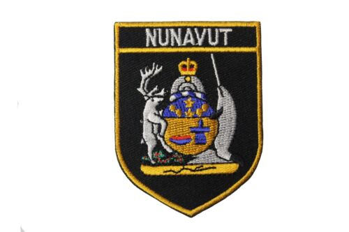 NUNAVUT Black Shield CANADA Territory FLAG Iron-On PATCH CREST BADGE..New