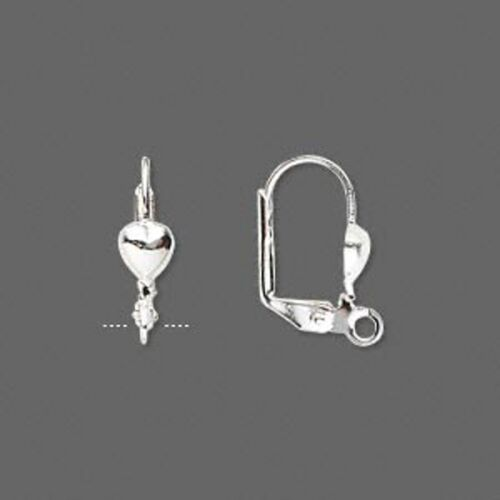 Silver Ear Wires Heart Lever Back Self Closing Finding Jewelry Lot of 20