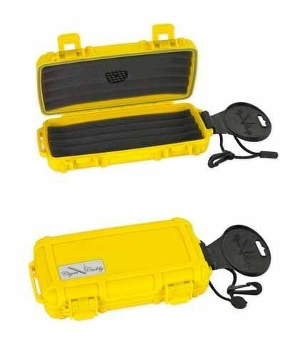 Cigar Caddy 5 Stick Travel Humidor with Free Cutter and Solution Safety Yellow
