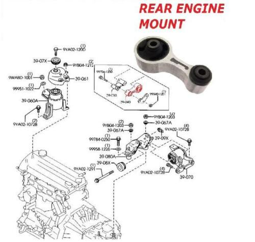 MAZDA 6 1.8 2.0 2.3 2002-08 REAR ENGINE GEARBOX MOUNTING BOTTOM CENTRE MOUNTING