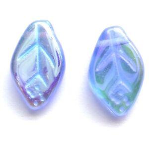 30-Lt-Sapphire-AB-12x7mm-Czech-Glass-Leaf-Beads