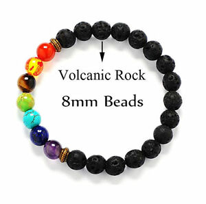 7-Chakra-Healing-Balance-Beaded-Lava-Bracelet-Natural-Stone-Yoga-Reiki-Prayer