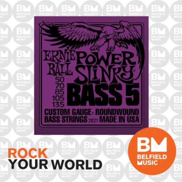 Ernie Ball 2821 Bass Guitar Strings 5-String Roundwound Power Slinky 50-135