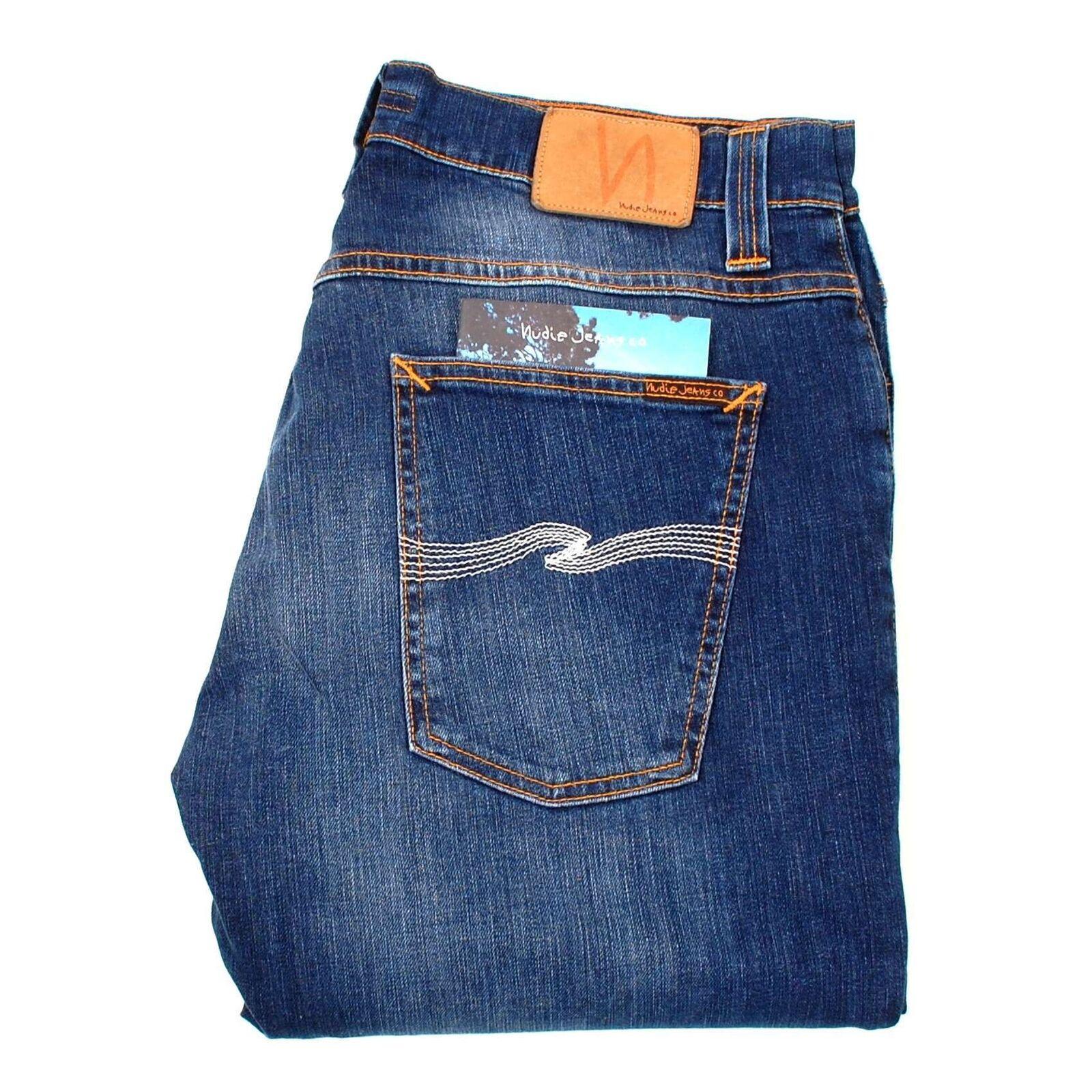 NUDIE JEANS Grim Tim Org. Slub Ecru Embo Straight RRP 150 GBP men Jeans 36 32