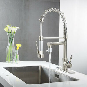 Brushed-Nickel-Kitchen-Sink-Faucet-Commercial-Pull-Down-Spray-Swivel-Tap-W-Plate
