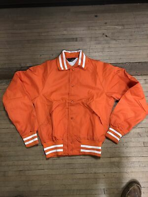 Vintage 80s Dunbrooke Red Satin Bomber Jacket Made in USA England Patch Size M