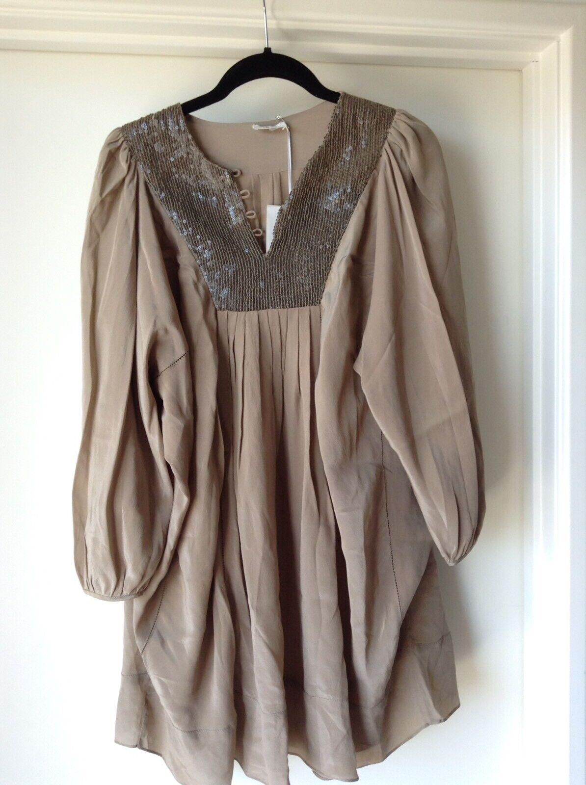 ANU - Mocha Sequinned Silk Tunic Top Dress - One Size