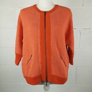 CAbi-195-Zip-Up-Sweater-Women-Size-M-Red-Orange-Cotton
