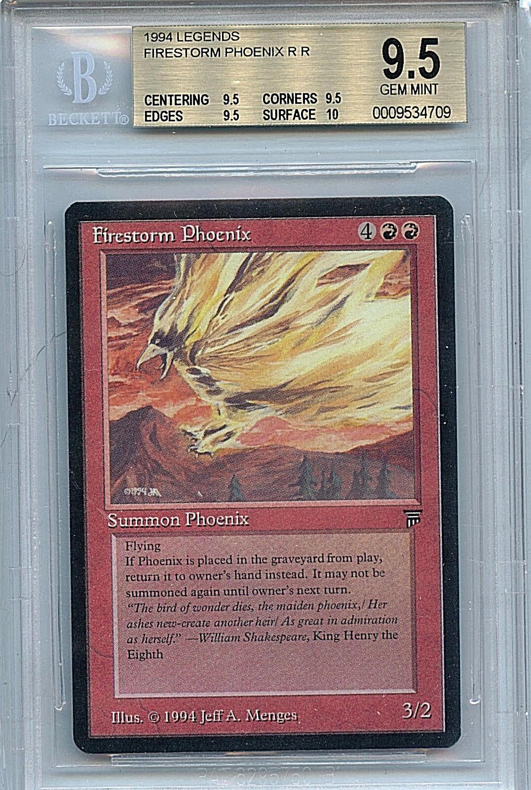 MTG Legends Firestorm Pheonix BGS 9.5 Gem Gem Gem Mint Magic WOTC card 4709 10536e
