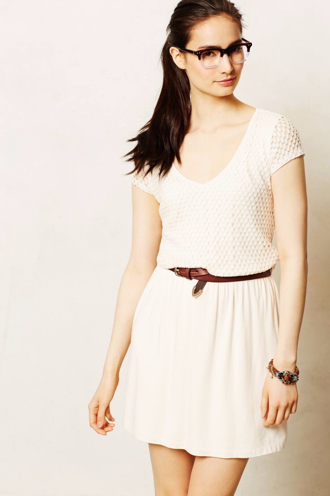 NIP Anthropologie Altea Eyelet Dress by Tart, XS, S, M, L, Ivory with Belt