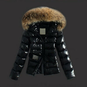 Womens Winter Outerwear Black Ladies Warm Faux Fur Parka Hooded ...