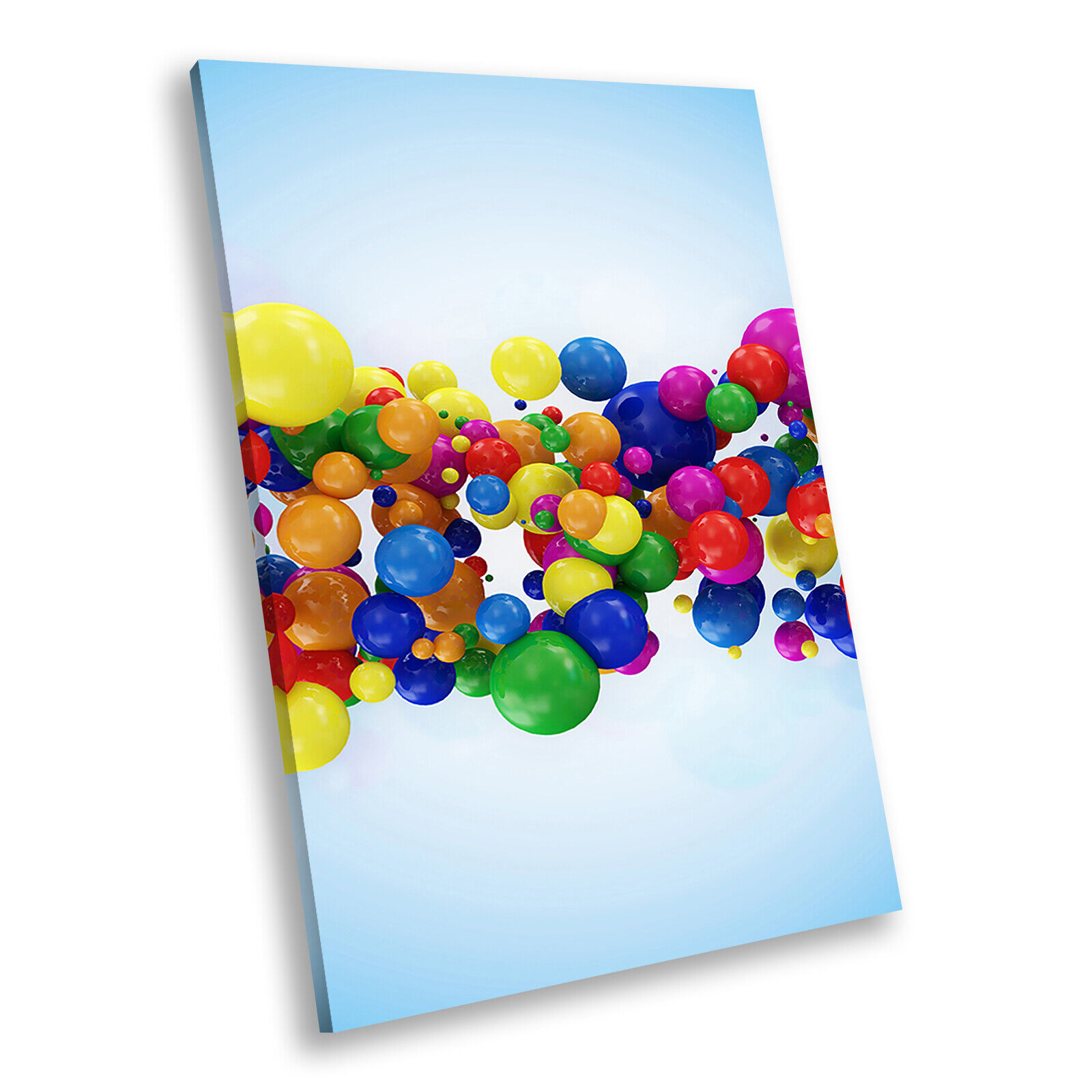Blau Colourful Balls Portrait Abstract Canvas Framed Art Large Picture