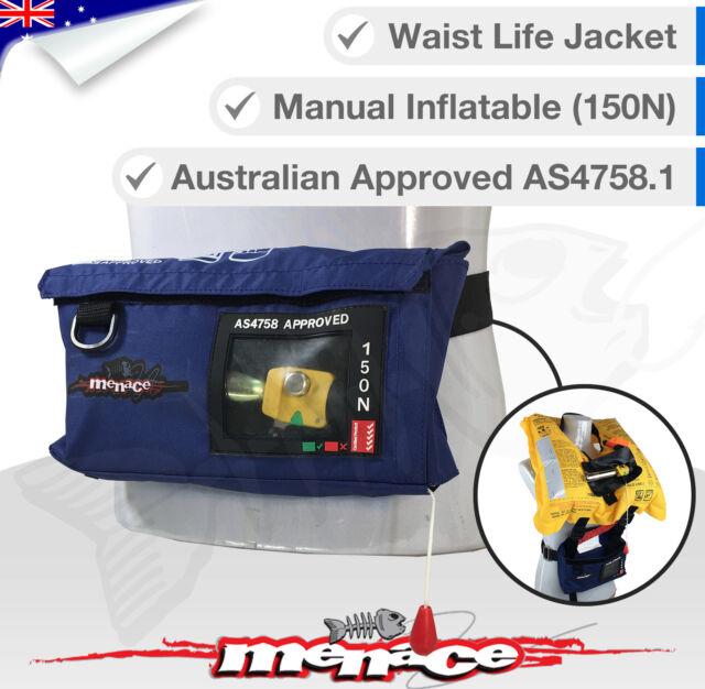 ADULT Life Jacket Inflatable PFD1 Type Waist Belt LifeJackets Manual Level L150N