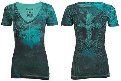 Archaic AFFLICTION Women T-Shirt REVIVE Cross Tattoo Biker UFC Sinful S-XL $40 a