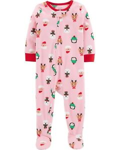 d10ca81c66 Carter s Girls Fleece Holiday Footed Pajama Blanket Sleeper 24 ...