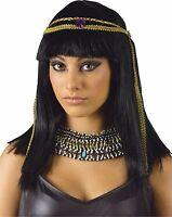 Womens Cleopatra Wig Headband Queen Nile Black Hair Bangs Costume Egyptian Adult