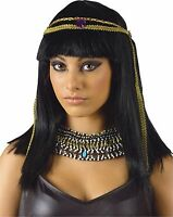 Womens Cleopatra Wig Headband Queen Nile Black Hair Bangs Costume Egyptian Adult