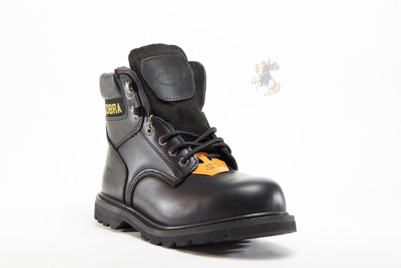 Men Work Boot Cobra C826S Steel Toe Black Leather Goodyear Welt Construction