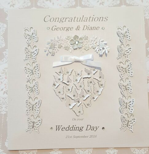 Personalised Handmade Wedding Day Large Butterfly Heart Card