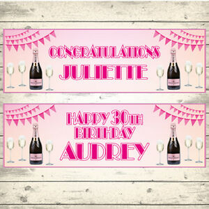 2-PERSONALISED-PINK-CHAMPAGNE-CONGRATULATIONS-CELEBRATION-BIRTHDAY-BANNERS