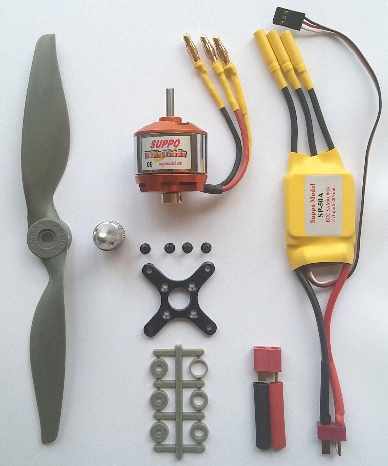 Kit Di Alimentazione Motore Brushless+Esc+Prop Per Aerei RC Fino a 1900g 3S & 4S