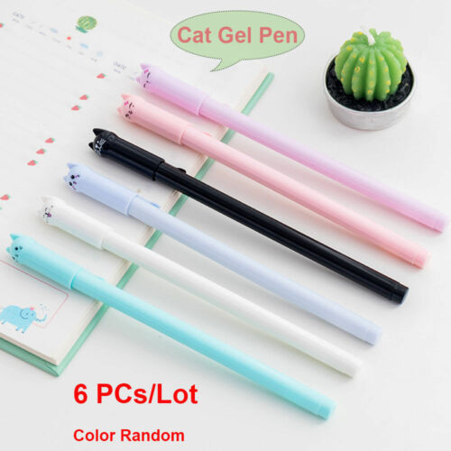 6pcs Cute Cat Gel Pen Black Ink Pen Kawaii Stationery School Office Supplies FS