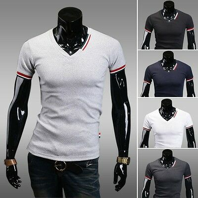 Jeansian Fashion Mens T-Shirts Top Tee Slim V Neck Casual 5 color 4 size D417