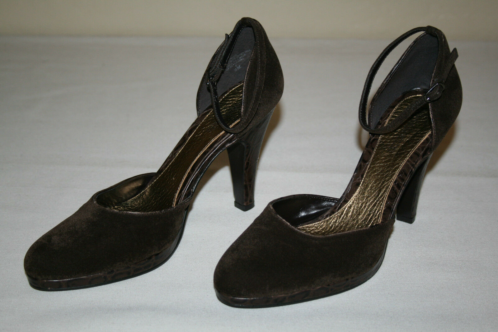 Enzo Angiolini Womens Sz 9 M Dark Brown Ankle Strap 4 ¼ Inch High Heels shoes