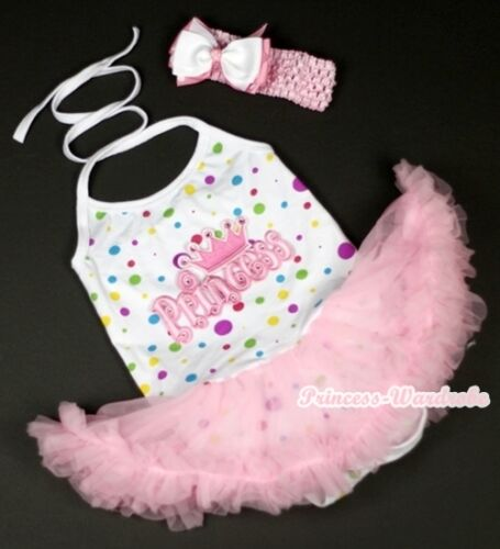 White Rainbow Dot Princess Halter Jumpsuit Pink Baby Dress /& Shoes Set NB-2Year