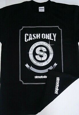 STREETWISE ANY MEANS $ Long Sleeve T-shirt Artist Series Mens Tee Black New