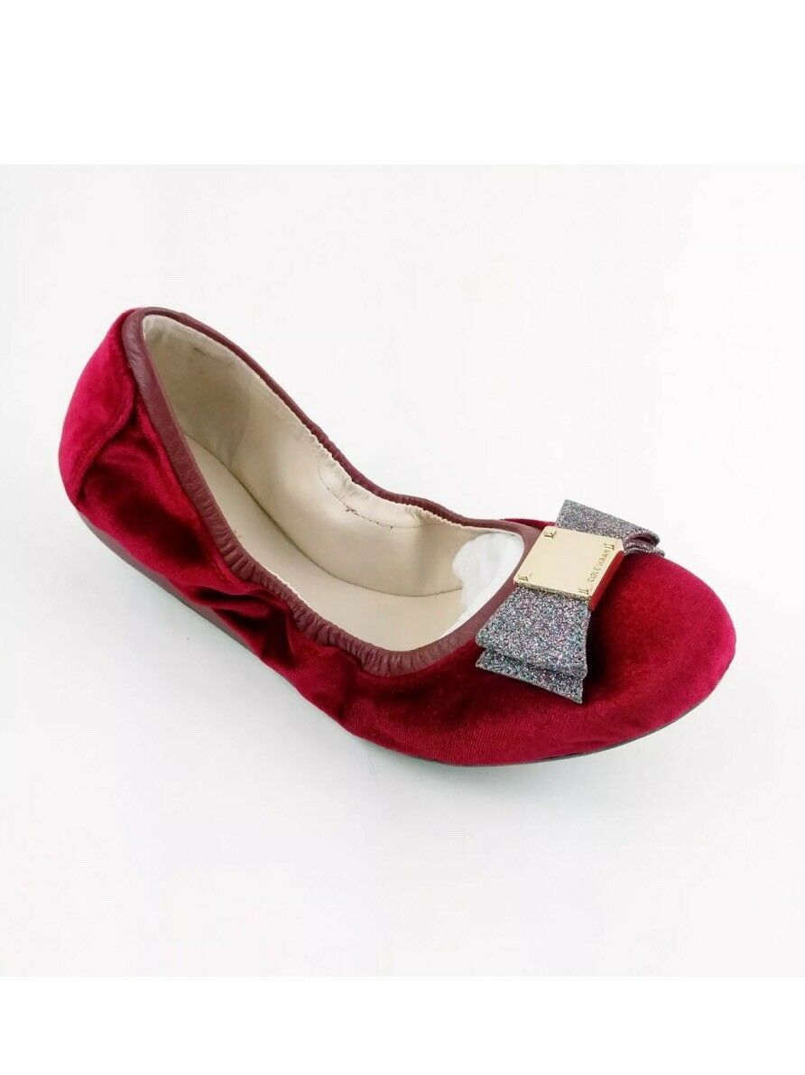 Cole Haan Taille 6.5 TALI Bow Ballet Plates en Velours Rouge Paillettes Noeud Ton Or Accent