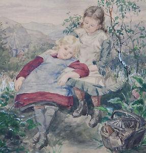 Oesterley-Luise-1845-1925-Goettingen-Hannover-Zwei-Maedchen-Picknick-Picknickkorb