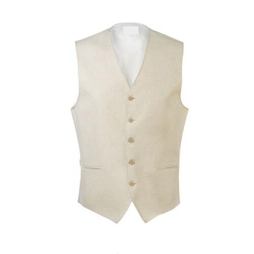 New Tan Linen Vest BowTie Summer Outdoor Wedding Tuxedo Vests Casual FREE Ship