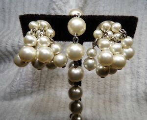 Vintage Earrings 40s 50s Gold Glass Bead and Pearl Drop Earrings on sale