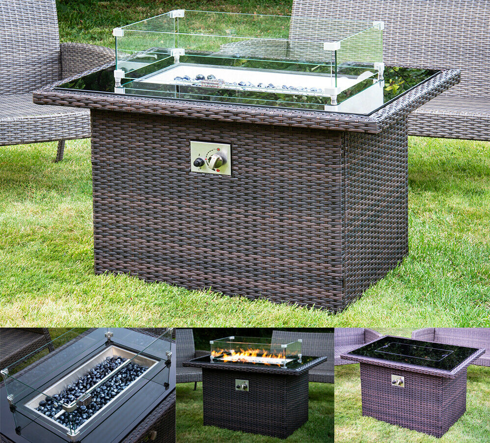 HIGH QUALITY RATTAN GAS FIRE PIT TABLE INC STONES & WIND GUARD GARDEN PATIO NEW