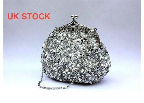 UK Silver Hand Beaded Evening Prom Clutch Bangle Bag 25SVa Same Day post